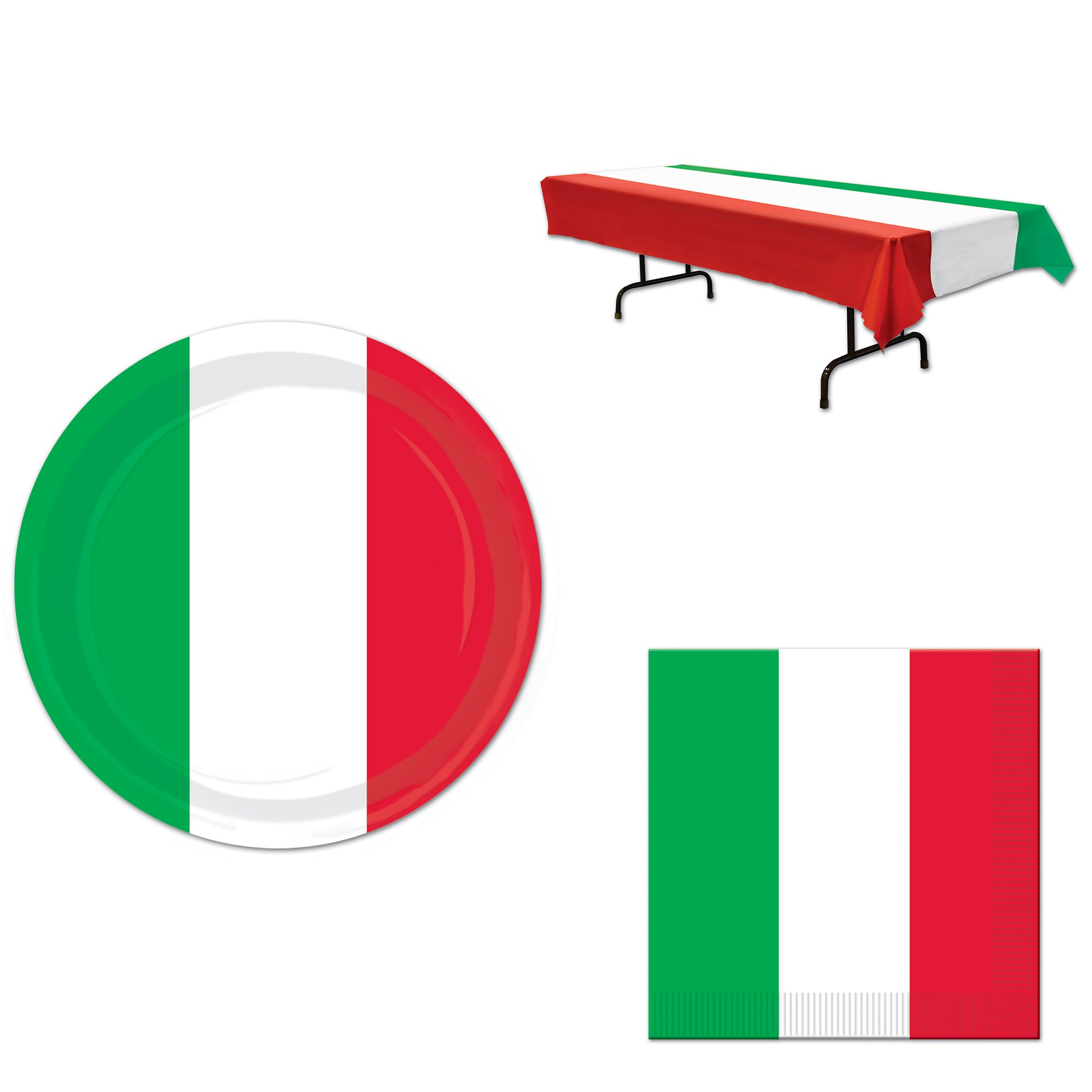 Red, White, and Green Party Bundle for 16: Plates, Napkins, and Tablecover