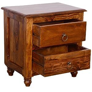 Ringabell Altavista Kimon Solid Wood Bed Side Table (Teak Finish)