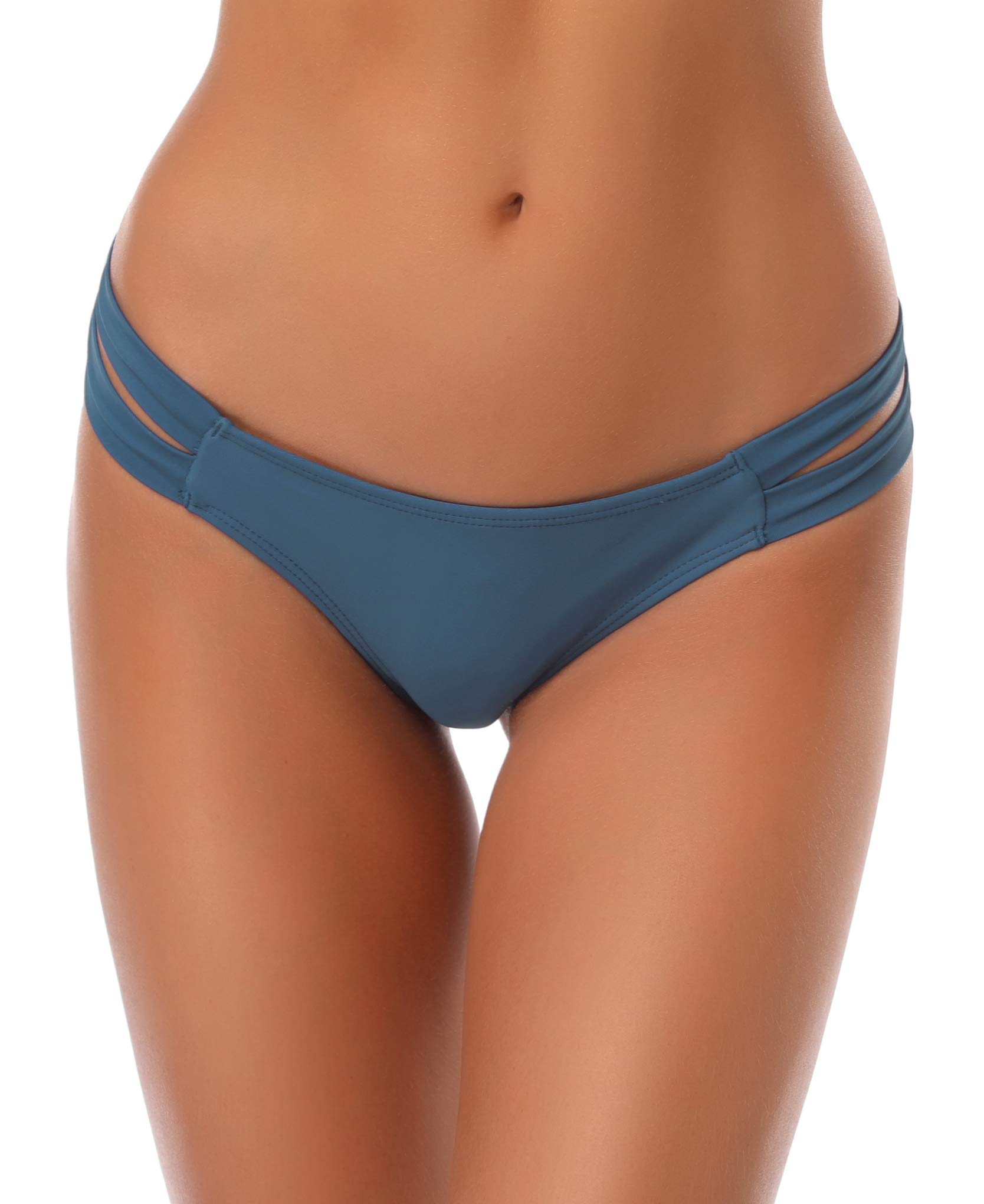 SHEKINI Cheeky Bikini Bottoms Strappy Low Rise Brazilian Thong Swim Shorts Women (Small/(US 4-6), Airy Blue)