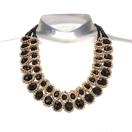 AWAYTR Ladies Choker Necklace Gold Tone Fashion Statement Big Multi Color Crystals Black