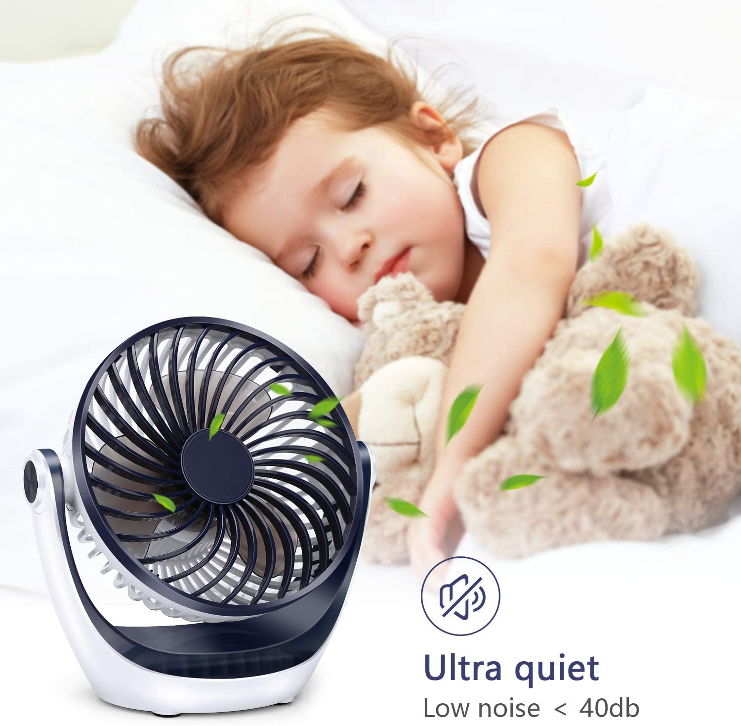 Aluan Desk Fan Small Table Fan with Strong Airflow Quiet Operation Portable Fan Speed Adjustable Head 360°Rotatable Mini Personal Fan for Home Office Bedroom Table and Desktop 5.1 Inch: Home & Kitchen