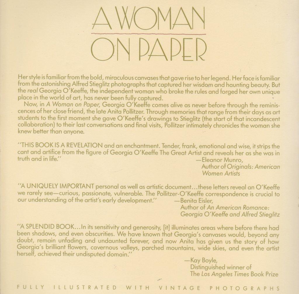 a woman on paper georgia o u0027keeffe anita pollitzer 9780671662424