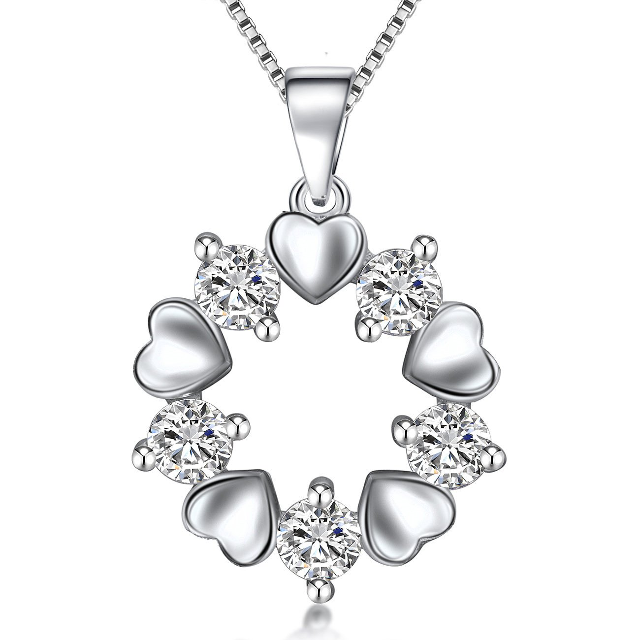 Ategazza Silver Cat Necklace and Earrings for Women with Crystal GC16-GE02