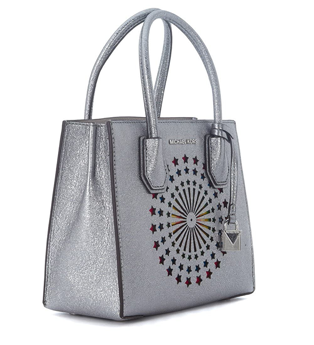 00241de08729c6 Amazon.com: Michael Kors Women's Michael Kors Mercer Messenger Silver Metal  Leather Bag With Rainbow Stars Silver: Shoes