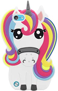 Mulafnxal Rainbow Unicorn Case for iPod Touch 5 6 5th 6th 7th,3D Soft Silicone Cases,Cute Cartoon Animal Fun Cover,Kawaii Character Girls Kids Cool Protector,Shockproof Rubber Shell for iPod6 5 7