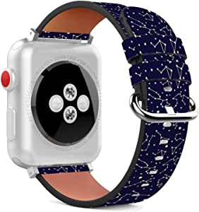 Compatible with Apple Watch - 38mm / 40mm (Serie 5,4,3,2,1) Leather Wristband Bracelet with Stainless Steel Clasp and Adapters - Nights Constellation Stars
