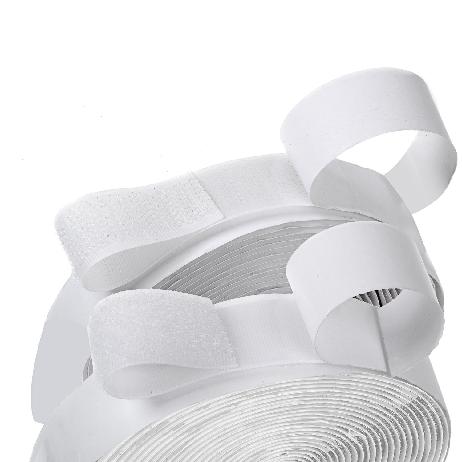 1 Width Self Adhesive Hook and Loop Sticky Back Tape Fastener 16 feet (White) BQSWIN