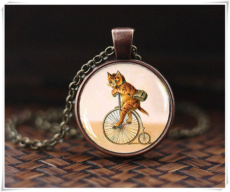 Zhahender Adornos Decorativos Gato en Bicicleta Collar Gato ...