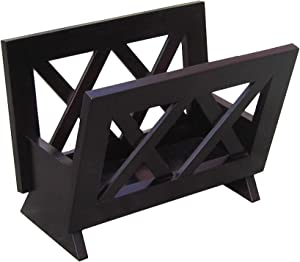 Oceanstar Contemporary Solid Wood Magazine Rack, Mahogany Finish