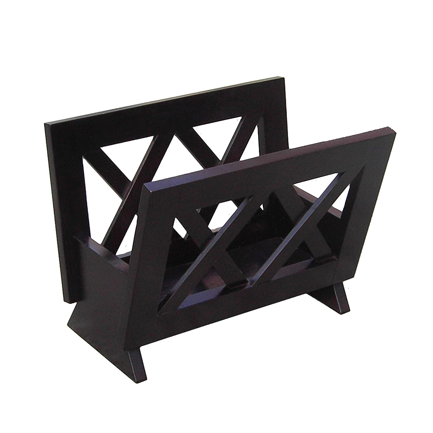 Oceanstar Contemporary Solid Wood Magazine Rack, Mahogany Finished Oceanstar Design Group M1125