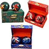 Happy Sales HSHB-DRPX, One Chinese Health Balls Baoding Iron Ball, Dragon & Phoenix, Order Comes with Random Color Pick
