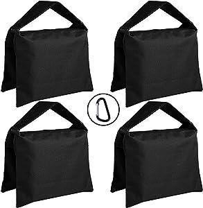 Super Heavy Duty ABCCANOPY Sandbag Saddlebag Design 4 Weight Bags for Photo Video Studio Stand,Backyard,Outdoor Patio,Sports (Black)