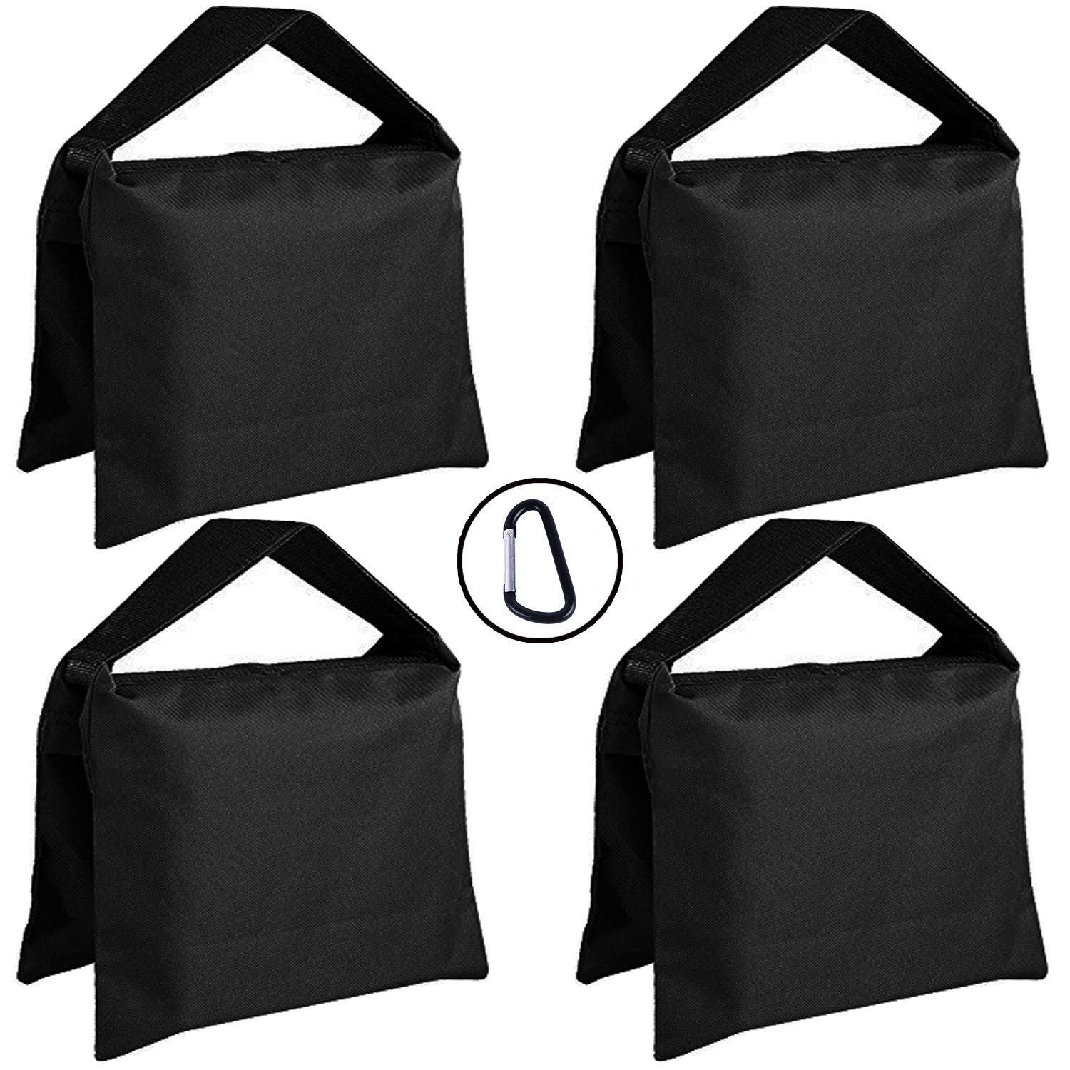 Super Heavy Duty ABCCANOPY Sandbag Saddlebag Design 4 Weight Bags for Photo Video Studio Stand,Backyard,Outdoor Patio,Sports (Black)
