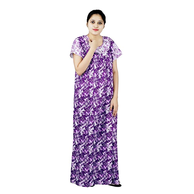 caea78a686 OSF Purple   White Colour Abstract Design Printed Round Neck Cotton Nighty  for Ladies Nightwear Full