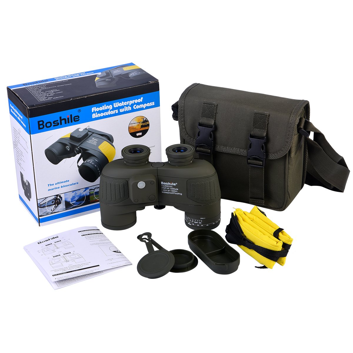 Begeer 10X 50mm Hign Definition Binoculars With BAK4 Prism and FMC Film Coated Lens Waterproof Binocular Telescope With Built-in Compass and Lights For Navigation Etc. (B)