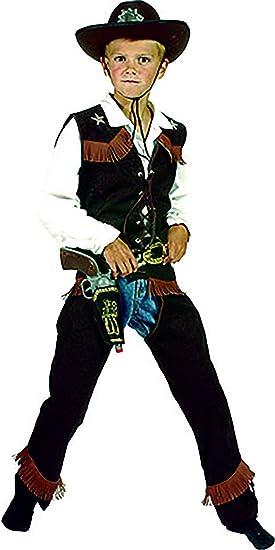 halloweenia – Disfraz de vaquero con flecos oscura para niños, 104 ...
