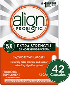 Align Extra Strength Probiotic, Probiotic Supplement for Digestive Health in Men and Women, 42 capsules, #1 Doctor Recommended Probiotics Brand(Packaging May Vary)