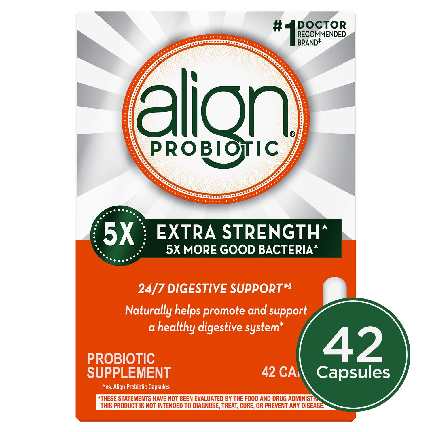 Align Extra Strength Probiotic, Probiotic Supplement for Digestive Health in Men and Women, 42 capsules, #1 Doctor Recommended Probiotics Brand (Packaging May Vary) by Align
