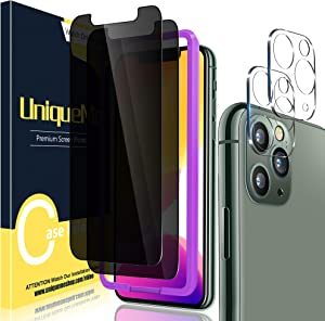"""[3 Pack] UniqueMe 2 Pack Privacy Screen Protector for iPhone 11 Pro 5.8"""" and 1 Pack Camera Lens Protector for iPhone 11 Pro Tempered Glass Anti Spy HD Clear [Bubble Free]"""
