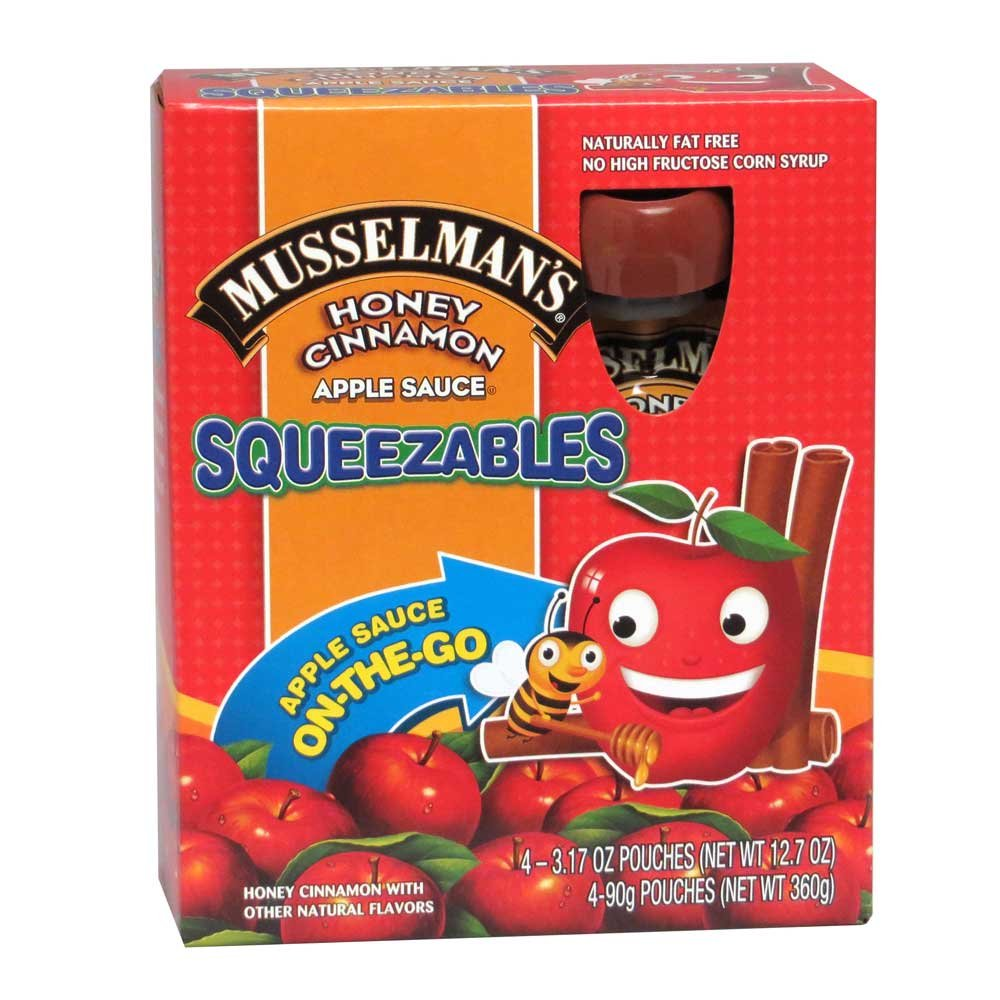 Musselmans Squeezables Honey Cinnamon Apple Sauce, 3.17 Ounce - 4 per pack - 6 packs per case.