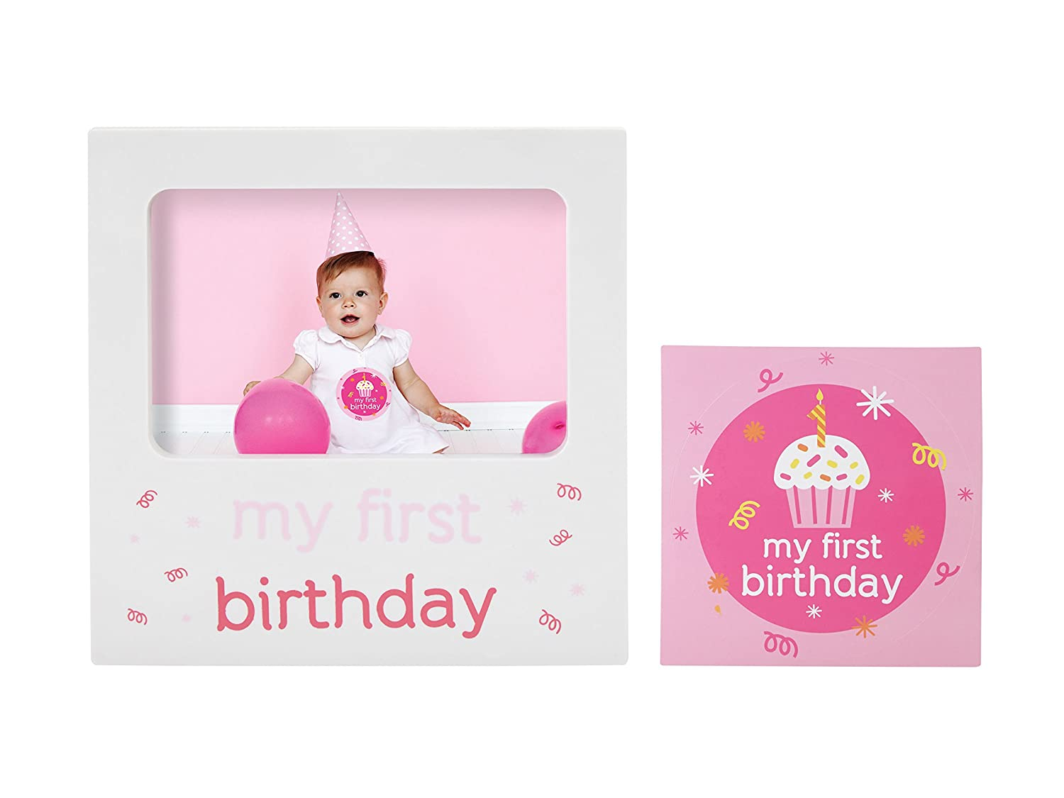 Tiny Ideas Baby s First Birthday Milestone Baby Belly Sticker and Keepsake Photo Frame Gift Set, Pink