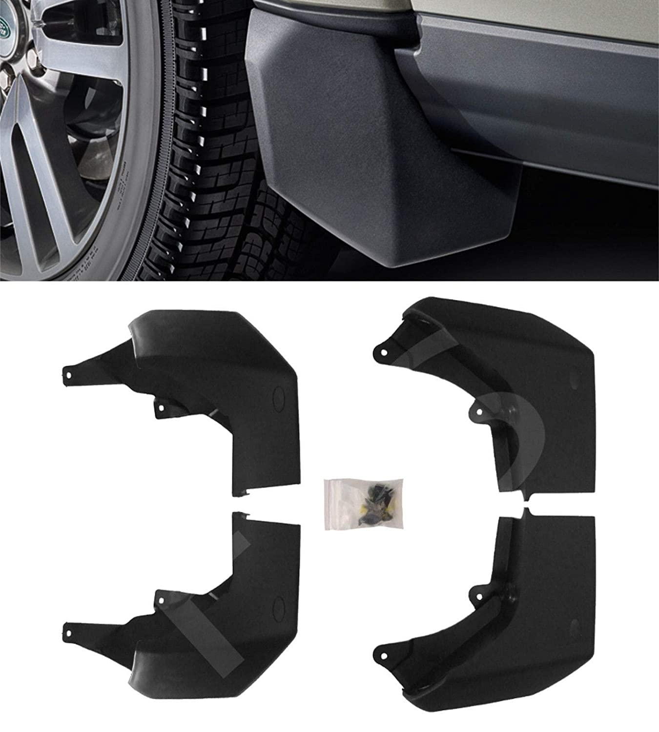 DISCOVERY 4 2010 FRONT /& REAR MUDFLAP SET MUD FLAPS KIT MUDGUARDS