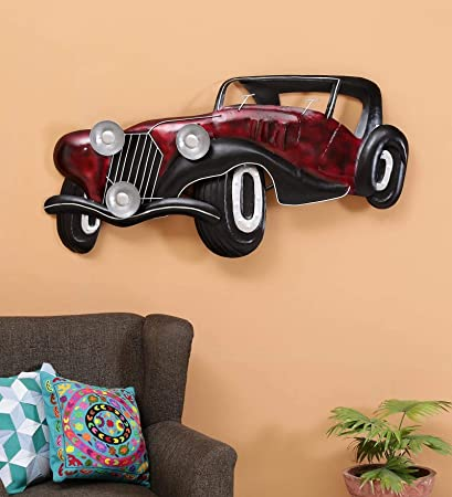 Buy Collectible India Vintage Style Rustic Metal Red Car Jeep Wall