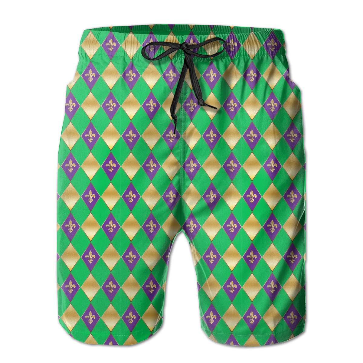 Carnival Festival Masquerade Mardi Gras Checkered Geometric Mens Swim Trunks Board Beachwear Casual Beach Shorts for Men