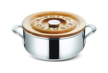 Lagostina Risottiera - Olla para risotto con tapa de acero y madera, 24 centímetros, 3.5 litros