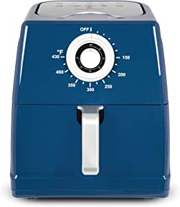 Paula Deen 8.5QT (1700 Watt) Large Air Fryer, Rapid Air Circulation System, Square Single Basket System, Ceramic Non-Stick Coating, Easy-to-Use Dial, 50 Recipes (Savannah Blue)