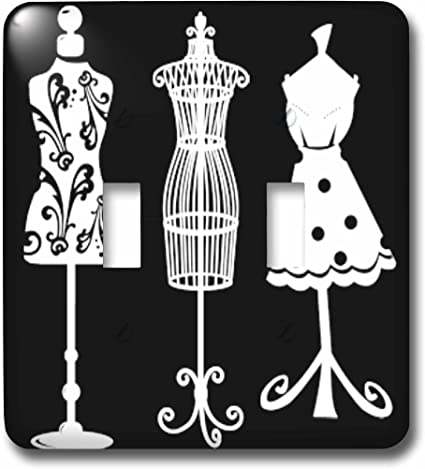 3drose Lsp 65171 2 Pretty Women S Dress Forms In White On A Black Background Double Toggle Switch Multicolor Switch Plates Amazon Com