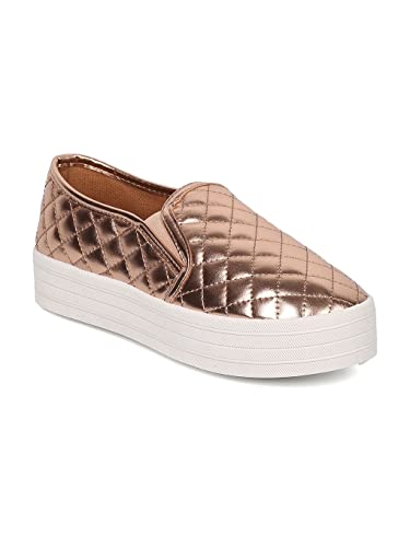 60bdcd70b1 Breckelle s Women Metallic Quilted Round Toe Platform Slip On Sneaker DH57  - Rose Gold Metallic (
