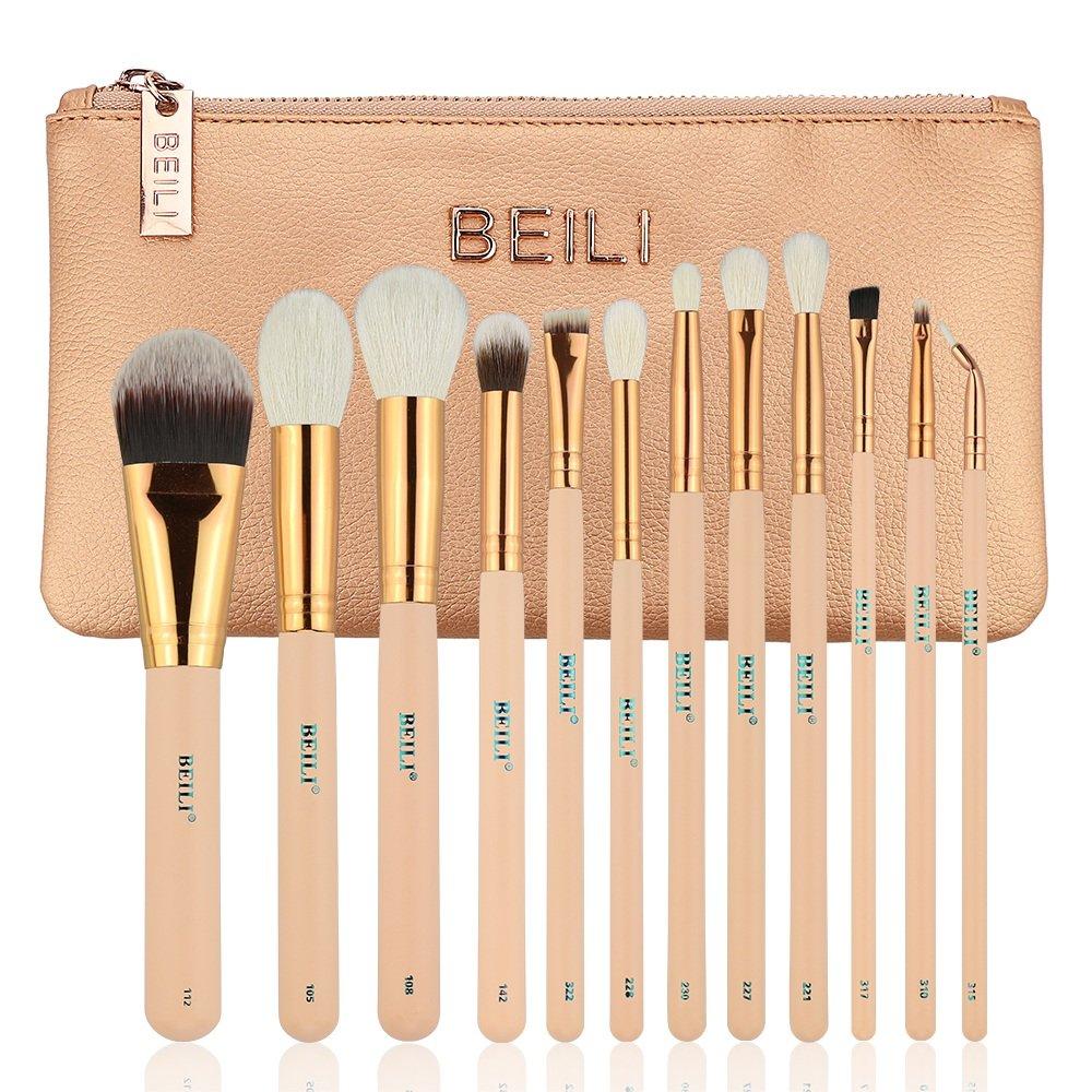 Amazon Com Beili Makeup Brush Set 12 Pieces Goat Hair Essential