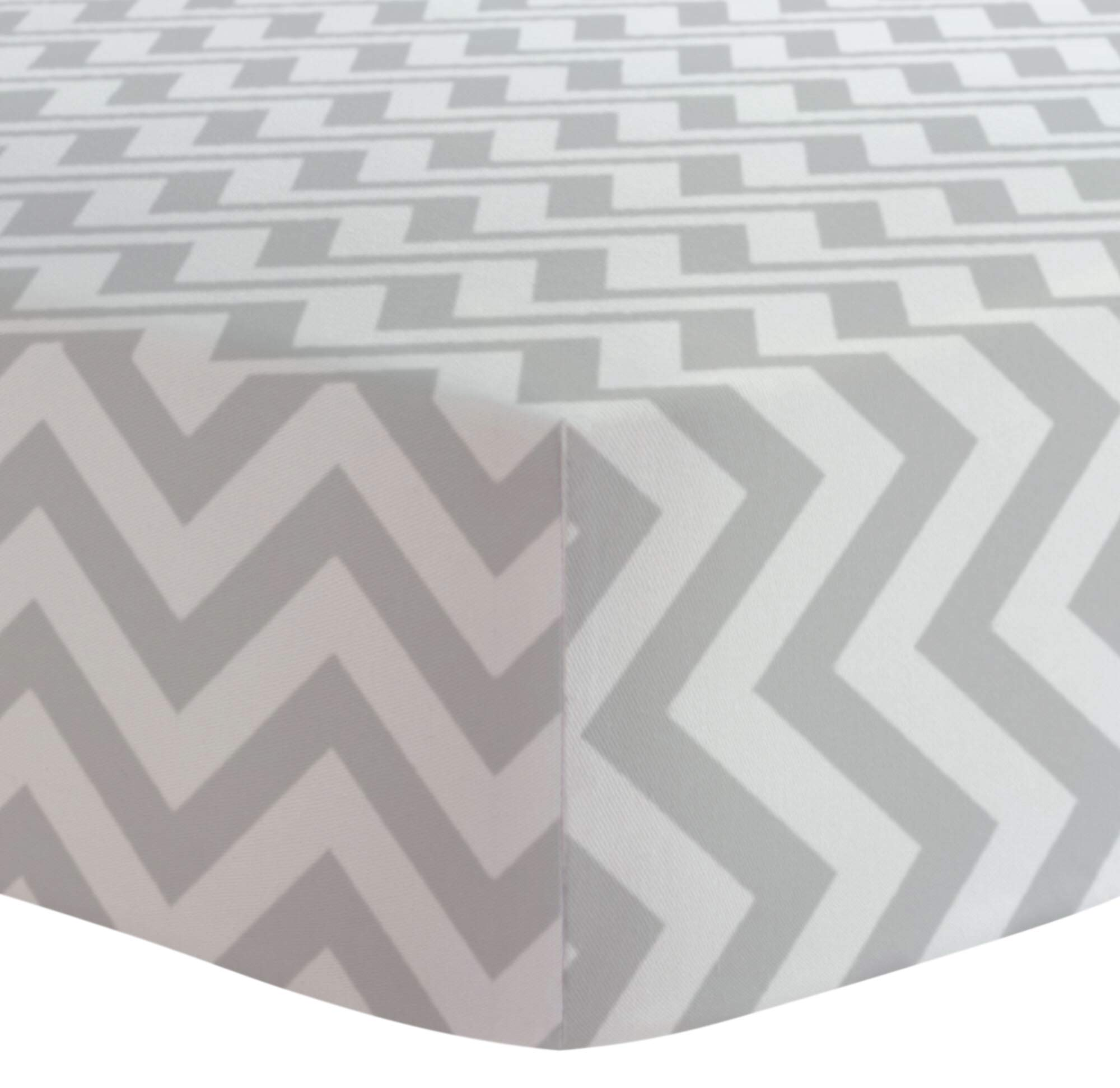 Kushies Baby Fitted Crib Sheet, Grey Chevron product image