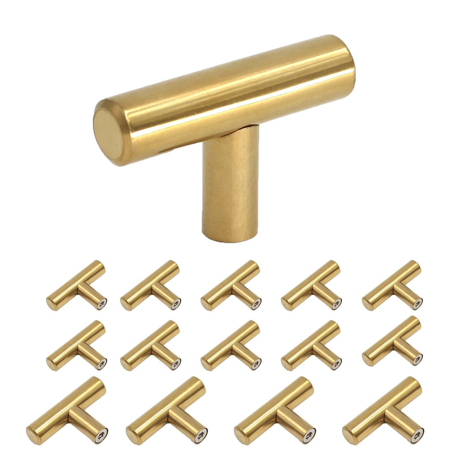 Homdiy Brushed Brass Cabinet Knobs 2in Modern Gold Kitchen Door Handles and Drawer Pulls Knobs 15 Pack