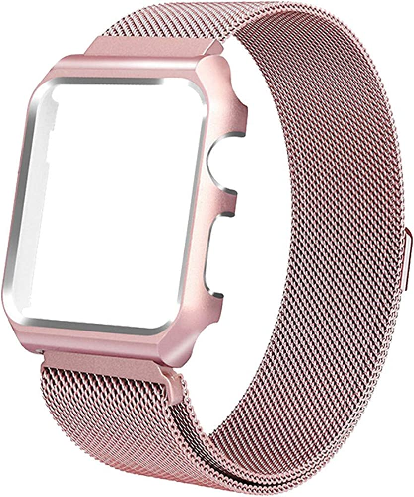 Toogu Stainless Steel Mesh bands Compatiblewith Apple Watch 38mm 42mm, Protective Case with Loop Mesh Strap Replacement Adjustable Magnetic For Iwatch Series 6/SE/5/4/3/2/1