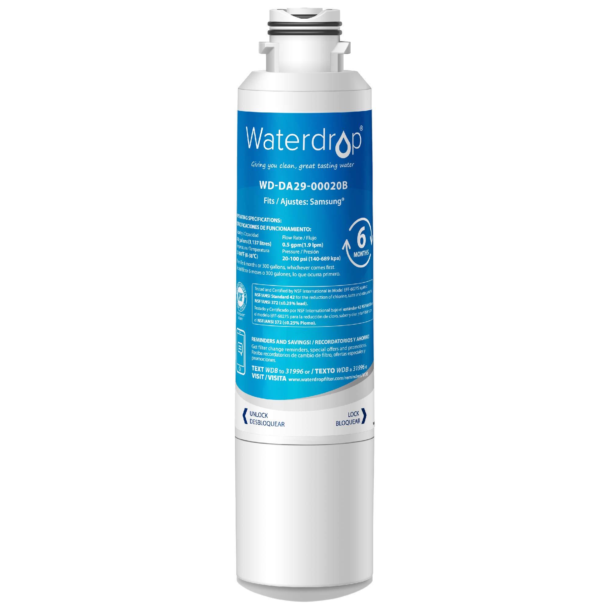 Waterdrop DA29-00020B Refrigerator Water Filter, Compatible with Samsung DA29-00020B, DA29-00020A, HAF-CIN/EXP, 46-9101, Standard by Waterdrop
