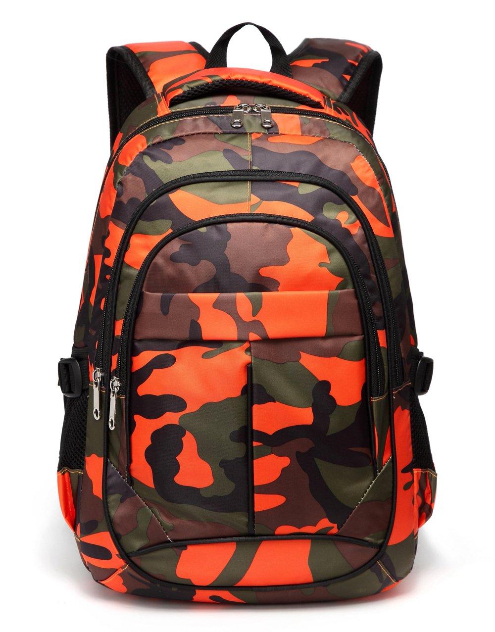 Kids School Backpacks for Boys Camouflage School Bags Durable Bookbags for Children Girls (Camo Orange) by BLUEFAIRY