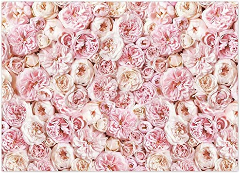Funnytree Floral Backdrop for Photography Rose Blooms Flower Background Valentines Day Wedding Lover Bridal Baby Shower Birthday Party Decoration Banner Photobooth Studio Prop 7x5FT