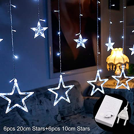jewh led string warm white christmas ornaments fairy christmas lights outdoor star garland led