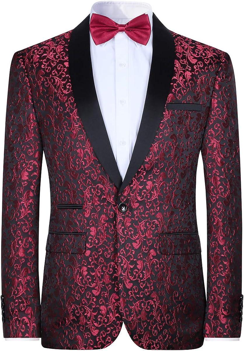 Mens Floral Jacquard Dress Suit Jacket 1 Button Print Tux Blazer Sport Coat