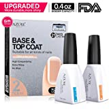 Base Coat No Wipe Top Coat Set for UV LED Gel Nail Polish LED Nail Lamp 0.4 Ounce Big Capacity by Azure Beauty
