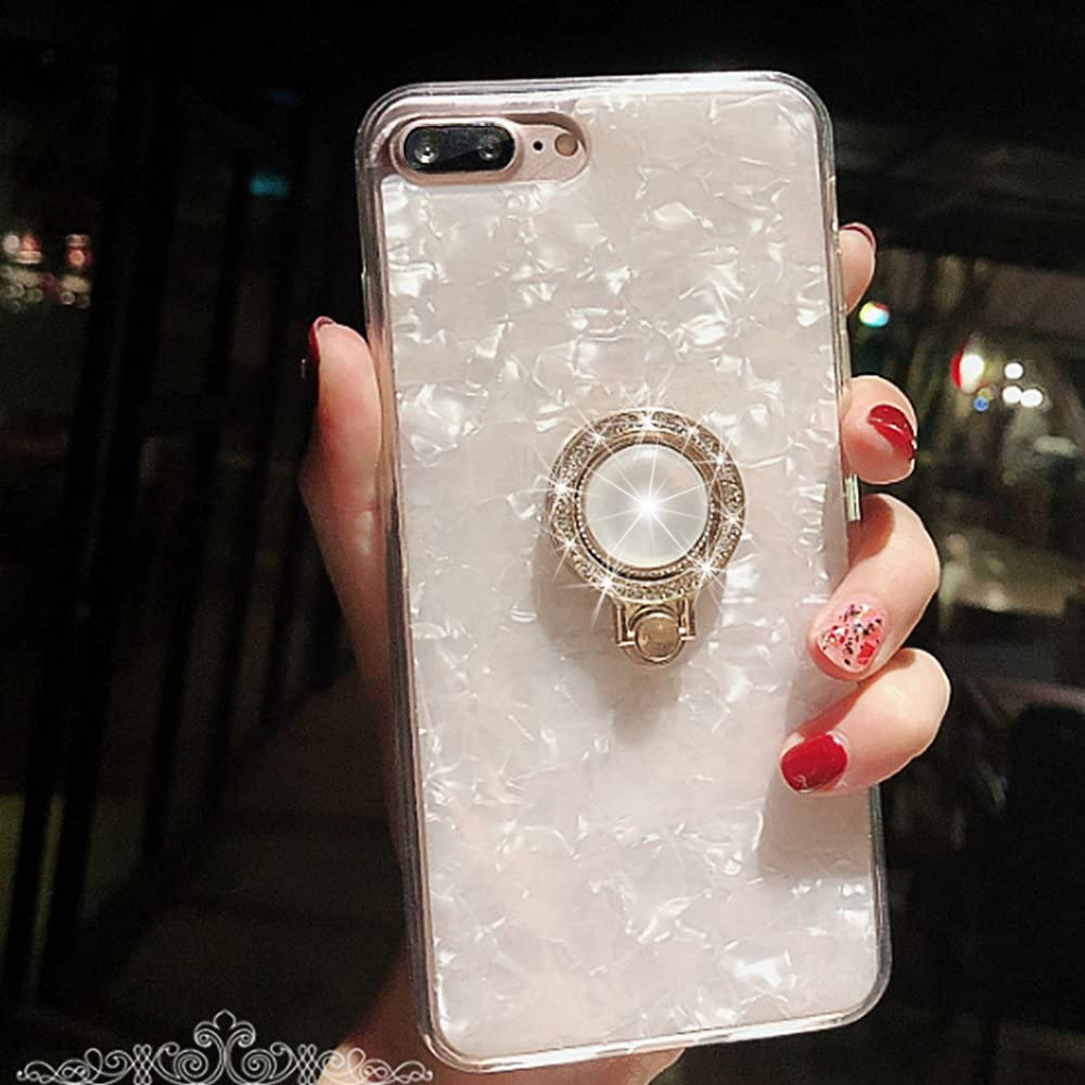 iPhone 8 Plus Case,iPhone 7 Plus Case,Seashell Pattern Soft TPU Shock-Absorption Crystal Bumper Case with Bling Diamond 360 Degree Rotating Ring Grip Holder Kickstand for iPhone 8/7 Plus(White)