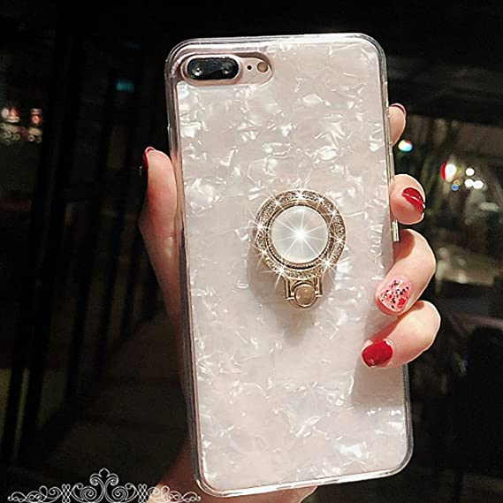 best website ac70b 3bc58 iPhone 8 Plus Case,iPhone 7 Plus Case,Seashell Pattern Soft TPU  Shock-Absorption Crystal Bumper Case with Bling Diamond 360 Degree Rotating  Ring Grip ...