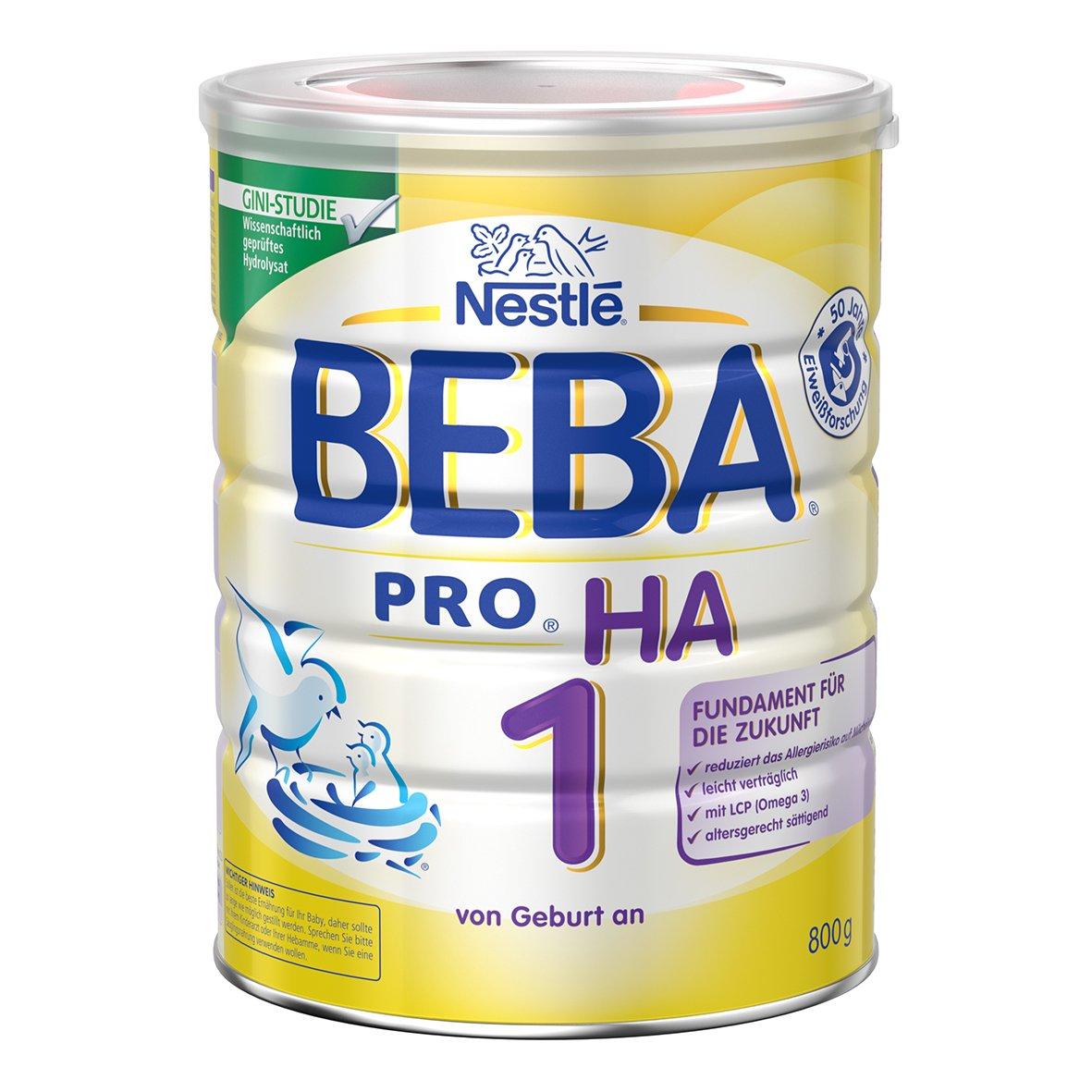 Nestlé BEBA PRO HA 1 Anfangsnahrung, hypoallergene Säuglings-Nahrung, hydrolisierte Baby-Nahrung, ab Geburt, sättigend, 6er Pack (6 x 800 g) sättigend Nestlé Nutrition GmbH 12332812