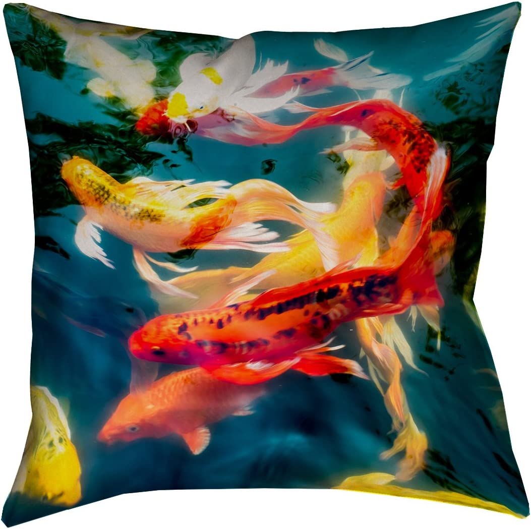 ArtVerse Justin Duane 26 x 26 Cotton Twill Double Sided Print with Concealed Zipper Insert Koi Pond Pillow, 0