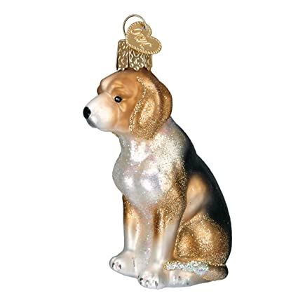 Amazon.com: Old World Christmas Beagle Glass Blown Ornament: Home ...
