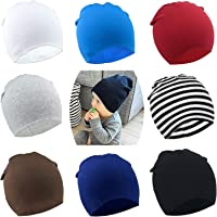 DRESHOW BQUBO 8 Pack Unisex Baby Beanie Hat Infant Baby Soft Cute Knit Cap  Nursery Beanie 31ea6da547f9