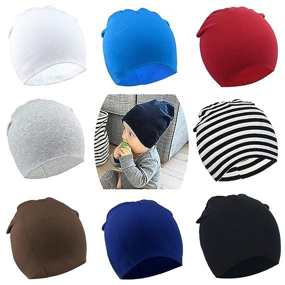 76b906d3fe0 Amazon.com  DRESHOW BQUBO 8 Pack Unisex Baby Beanie Hat Infant Baby Soft  Cute Knit Cap Nursery Beanie  Clothing