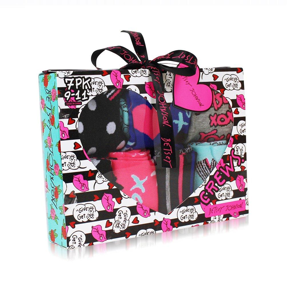 Betsey Johnson Women's 9 Pack Fashion Dot Lips Crew Gift Box, Assorted, 9-11